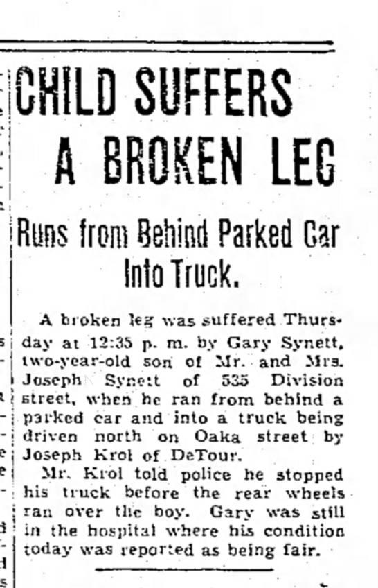 - j CHILD SUFFERS A BROKEN LEG Ryns from Behind...