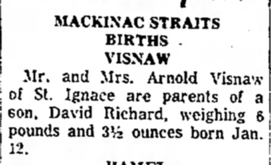 David Richard Visnaw 1966