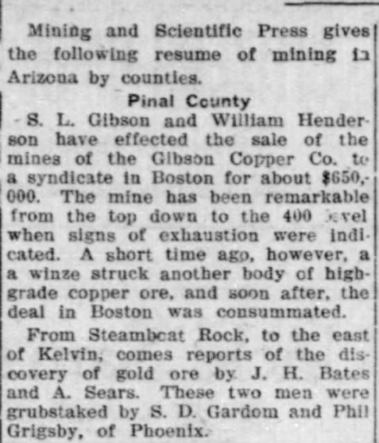 Bisbee Daily Review Apr 7, 1909 page 6 - Mining and Scientific Press gives tbo following...