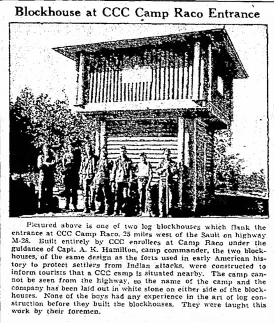1939 - Blockhouse at CCC Gamp Raco Entrance Pictured...