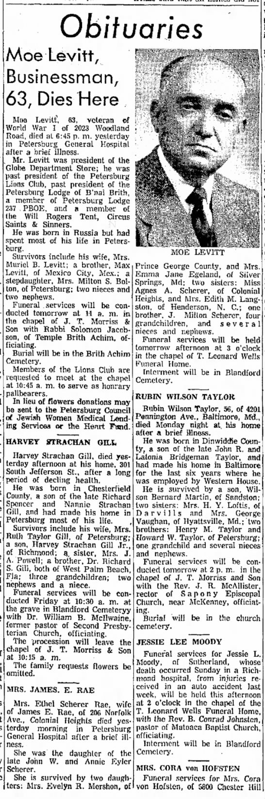Ethel Scherer Rae obituary - 30 Sep 1959 - Progess-Index, Petersburg VA - to a member' an sworn Arlie s , Sid Levy,...