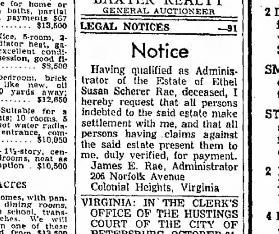 Susan Scherer, Ethel Scherer - 6 Nov 1959 - Progress-Index, Petersburg Virginia - for home or baths, p a r t i a l payments $G7...