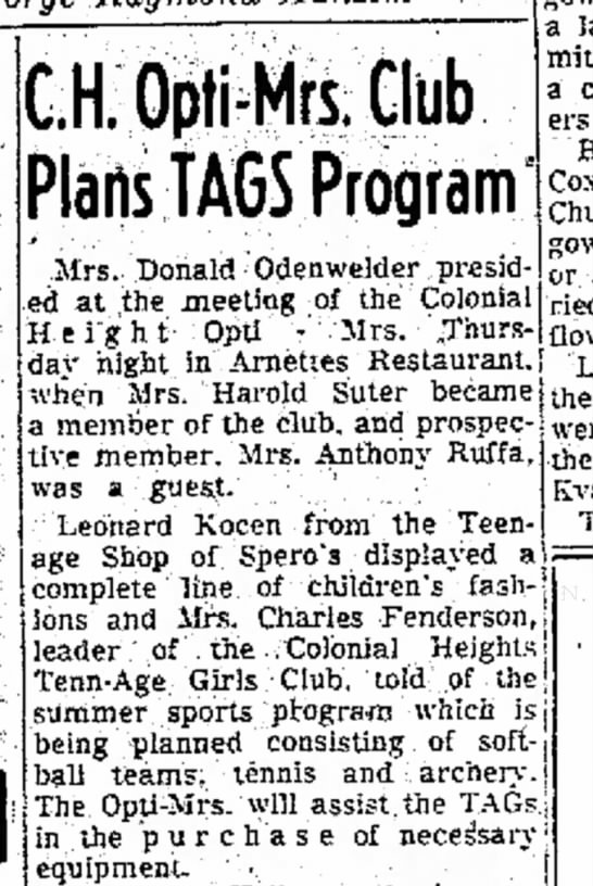 Leonard Kocen - ;.H. Option Club Plarts TAGS Program Mrs....