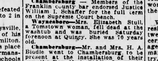 1921 June 27 Mrs. Elizabeth Stull - defeated to 2 in of his place - schools Mtmhin...