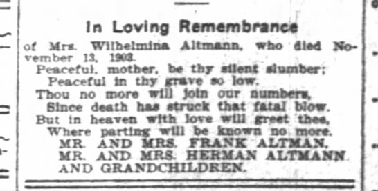 - - In Loving Remembrance of Mrs. Wllbelmina...