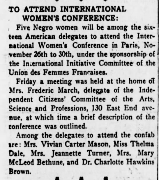 African American delegates to International Women's Conference in Paris