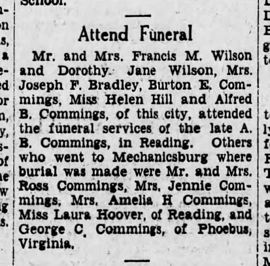 Grammie attends AB Commings funeral - a of Attend Funeral Mr. and Mrs. Francis M....