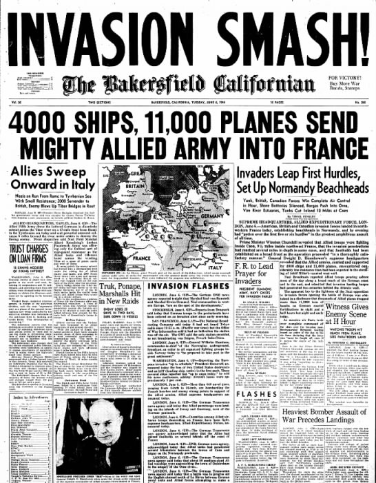 D-Day, 6 June 1944, The Bakersfield Californian - THE WEATHER •Temperature High yesterday 97 Low...