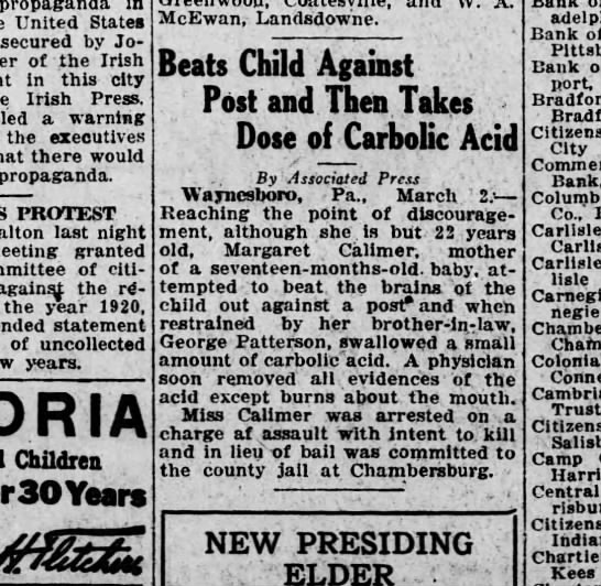 1921 March 2 Margaret Calimer in news - propaganda United States secured by Joseph of...