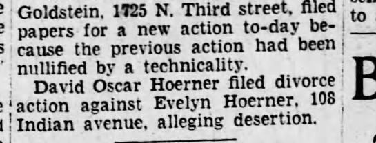 1928 August 13 David Oscar Hoerner divorce Evelyn Hippensteel - j cause the previous action had been j ;...