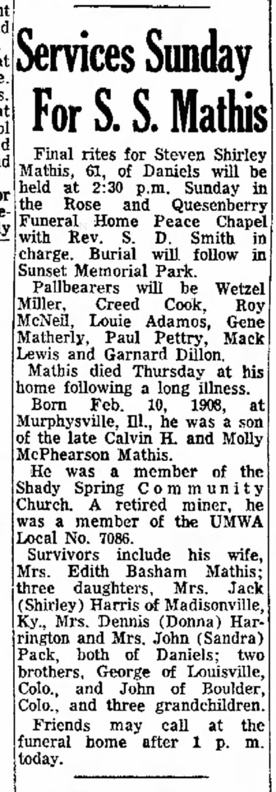 Steven Shirley Mathis, husband of Edith Basham Mathis - Granny Mann's sister Manda's daughter. - Mount and at at and band Services Sunday For S....