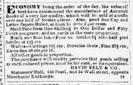 1843 - David Felt ad - - I j is g the order ol the day, tho turner i -...