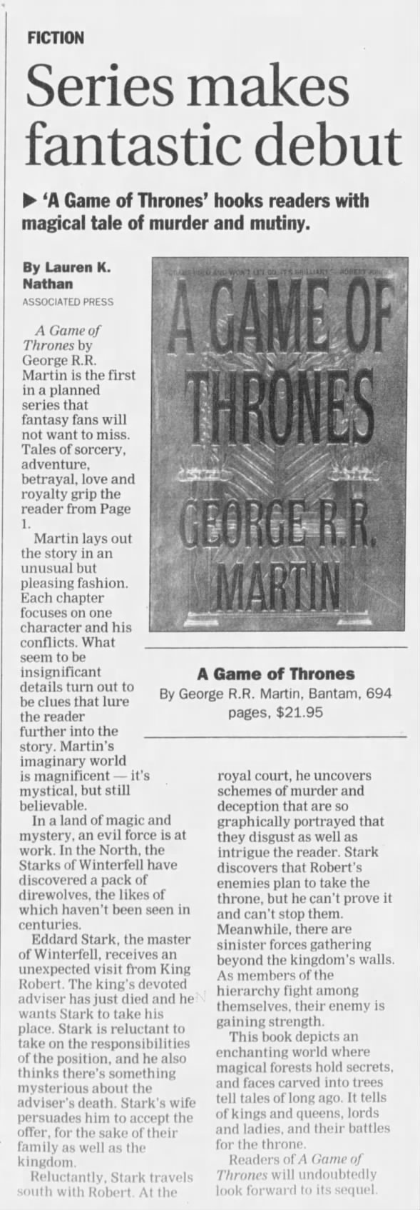A Game of Thrones - 1996 review of series debut