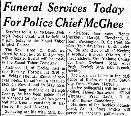 McGhee, Henry Bea, Obituary - Funeral Services Today For Police Chief McGhee...