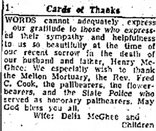 McGhee, Henry Bea, Sympathy - Cards rf Thank* VORDS cannot adequately express...