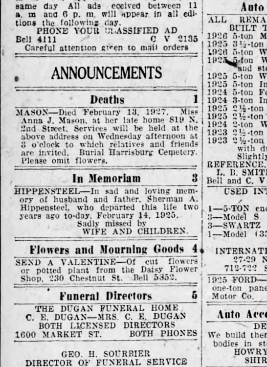 1927 Feb 14 Hbg Telegraph - same day All ads eceived between 11 a. m and 6...