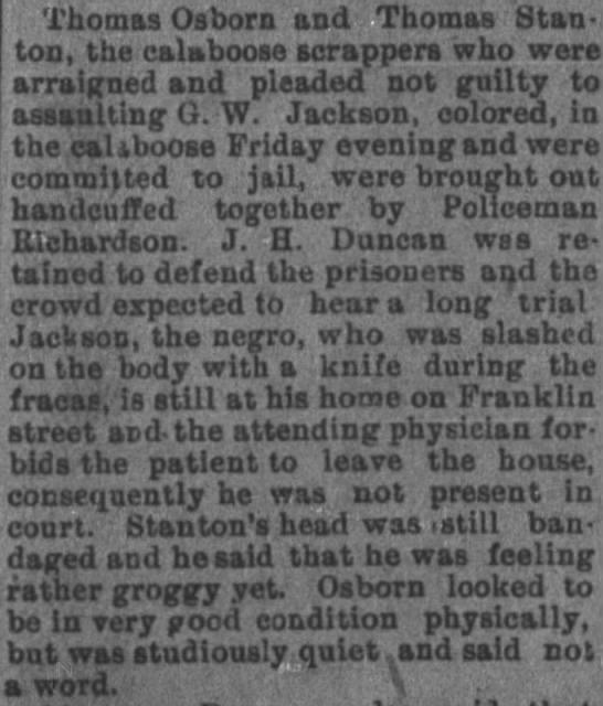 G.W. jackson on franklin stassaulted - Thomas Osborn and Thomas Stanton, Stanton, the...