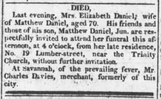 The Evening Post (New York, New York) 06 Nov 1817 (Page 2) - 1 I . DIED. Last evening, Mrs. Elizabeth...