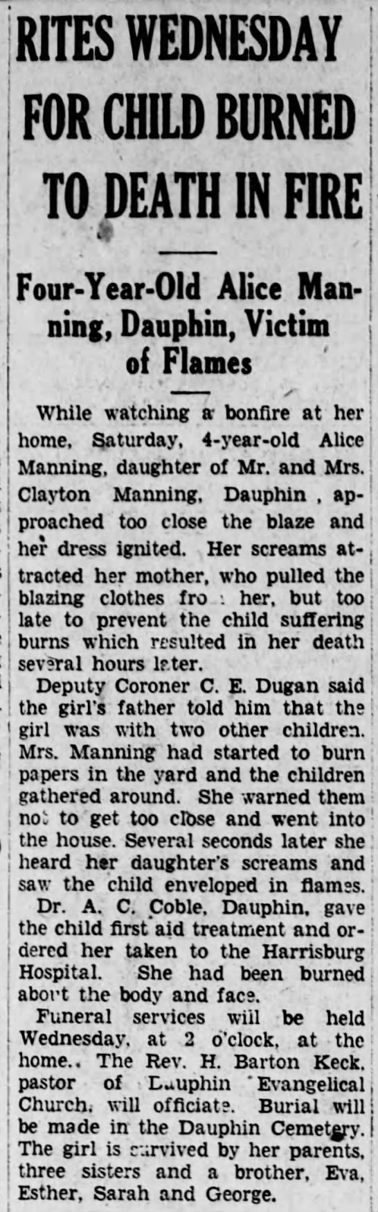 - , j RITES WEDNESDAY FOR CHILD BURNED TO DEATH...