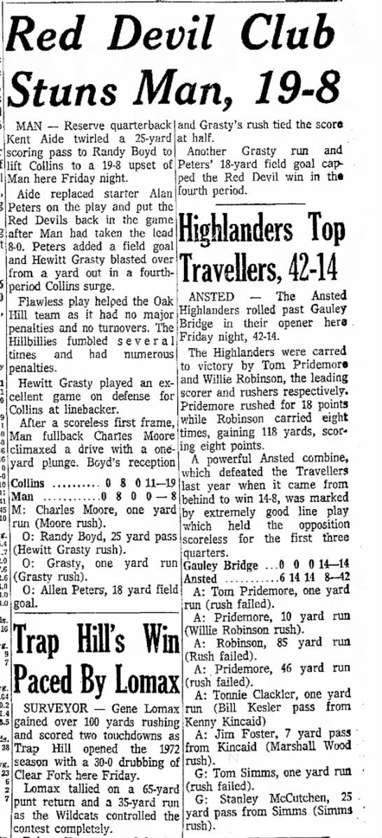 Register Herald 1 Sep 1973 Pg 3 - was Red Devil Club Stuns Man, 19-8 MAN --...