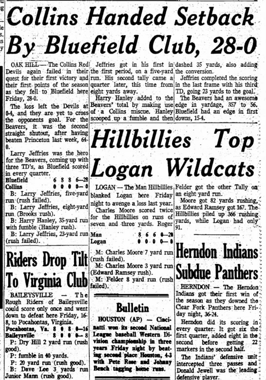 23 Sep 1972 Collins v Bluefield Beckley Post Herald Page 3 - -61 by set Collins Handed Setback By Bluefield...