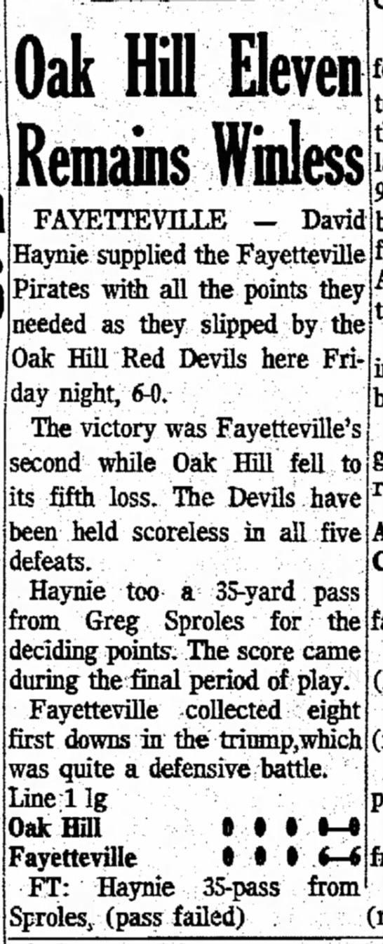 30 Sep 1972 Oak Hill V Fayetteville - still Lee| Oai Hill Eleven Remains Winless Ji...