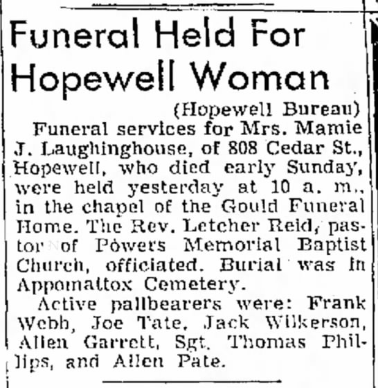 Mamie Laughinghouse Obituary (wife of Jeff Laughinghouse) 1956 - to Funeral Held For Hopewell Woman (Hopewell...
