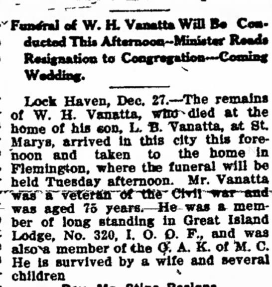 WHVanattaObit28Dec1909 - El*et.'FÂ«m.tml of W. H. Vanatta...