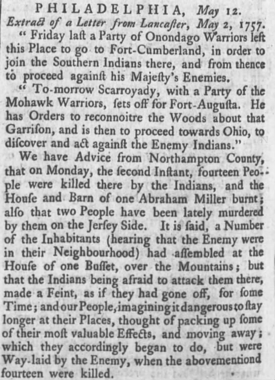 1757 Oneida and Mohawk Indians on Penn Frontier - PHILADELPHIA, May 12. ExtraS of a Letter from...