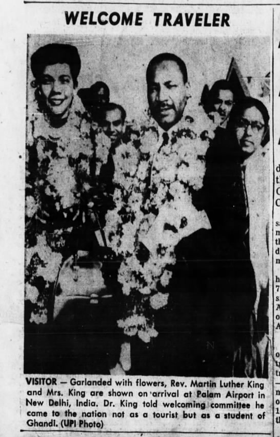 Feb 1959: M.L. King Jr and wife travel to India