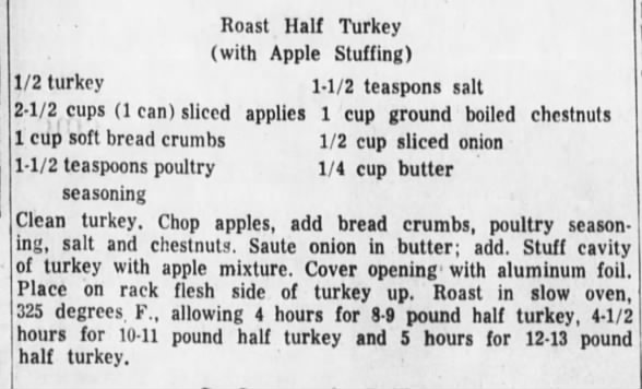 Roast Half Turkey with Apple Stuffing recipe, 1959