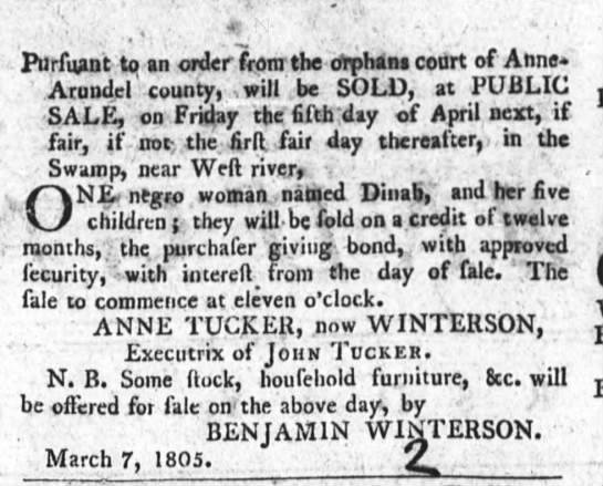 Sale of slaves by Anne Tucker Winterson 3-14-1805 - ' , Purfuant to an order from the oVphans conrt...