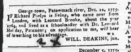 1775 md - George - town, Patowmack river, Dec 1, 1775 TF...