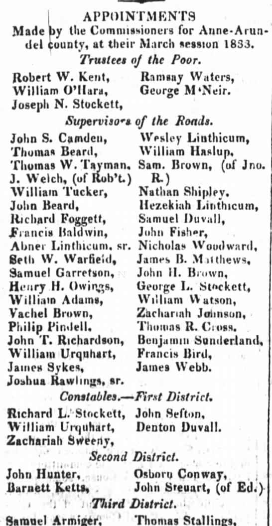 Wm Tucker appointment - supervisor of roads 3-14-1833 - I APPOINTMENTS Made by the Commissioners for...