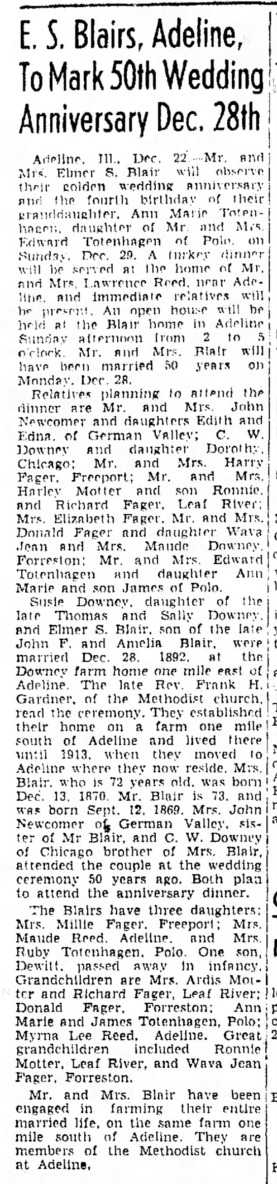 22 December 1942 Elmer S. Blair 50th anniversary - lots of information