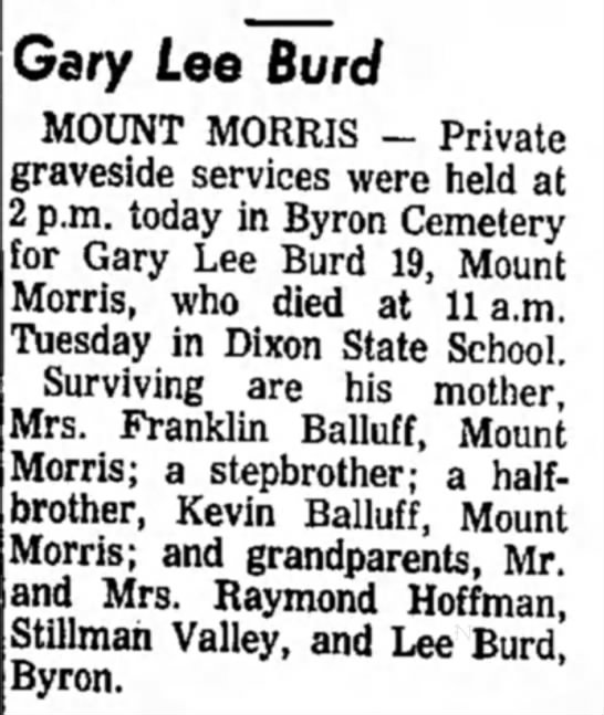 Gary Lee Burd (step son of Franklin Balluff) obit