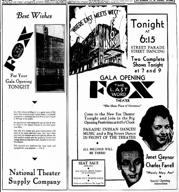 Fox theatre opening