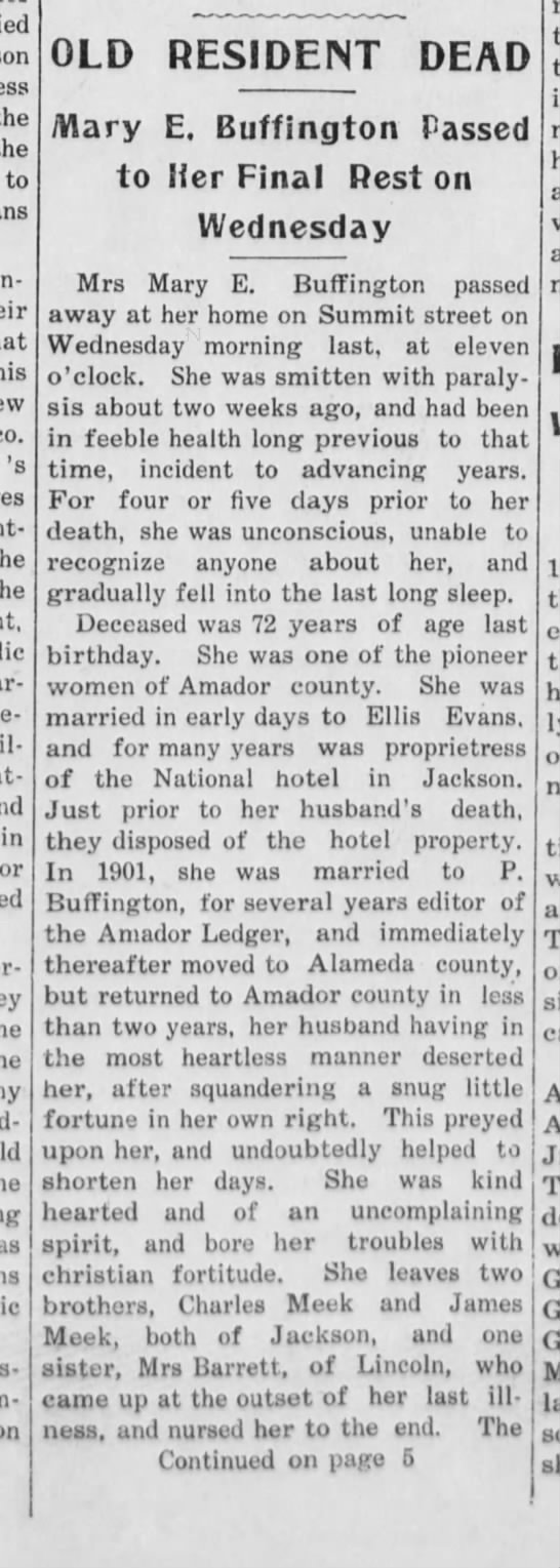 Mary Buffington dies - the the to 's attack in or OLD RESIDENT DEAD...
