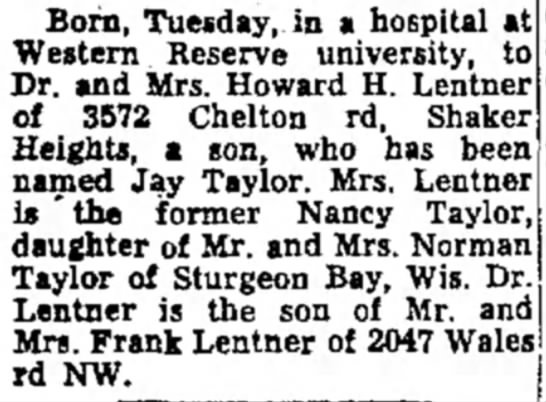 - Born, Tuesday, in a hospital at Western Reserve...
