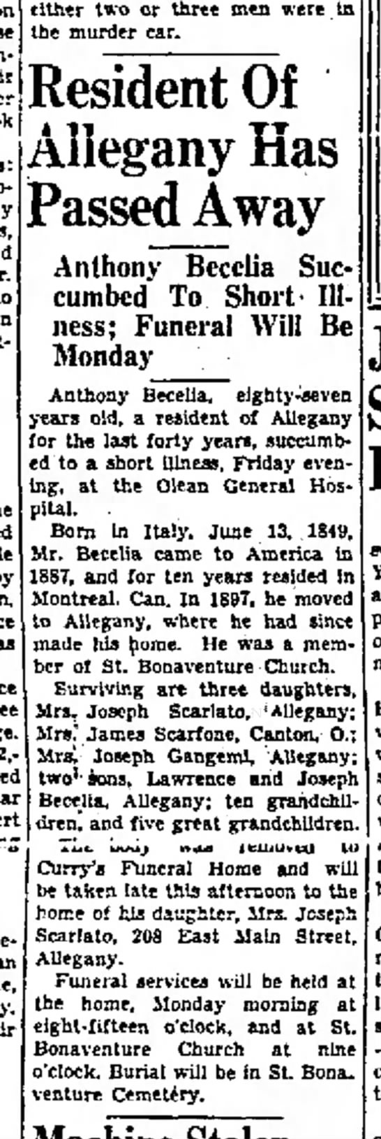 Anthony Becelia Obit 20 Feb 1937 - those planning Book popular to the office...