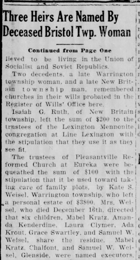 1942 PLEASANTVILLE CHURCH - ree Heirs Are Named By Deceased Bristol Two....