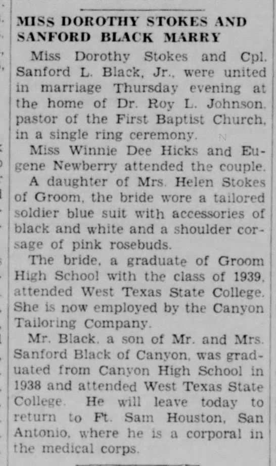 - MISS DOROTHY STOKES AND SANFORD BLACK MARRY...