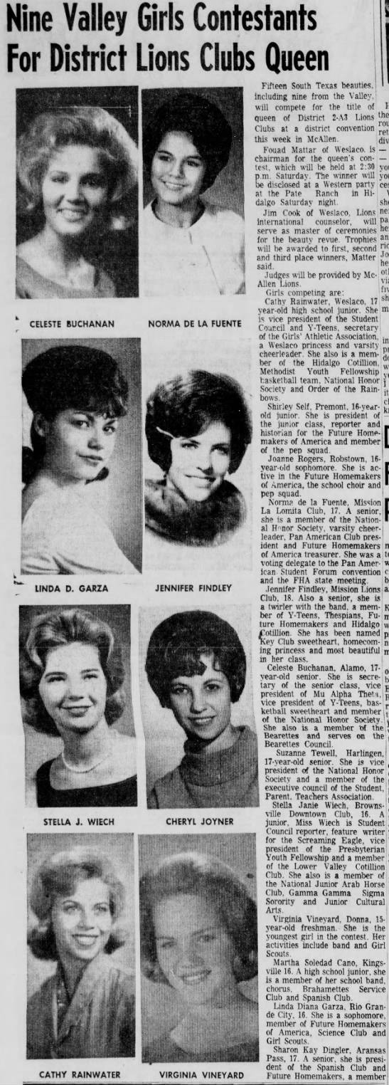 1964 lions queen - Nine Valley Girls Contestants For District...