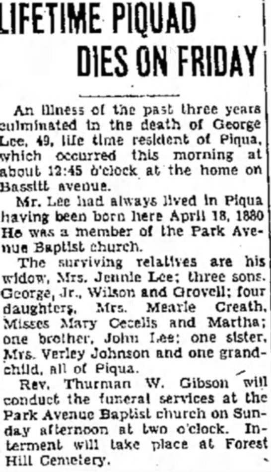 George Lee obituary - May 9, 1930 - LIFETIME PIOUAD DIES ON FRIDAY An illness ot...