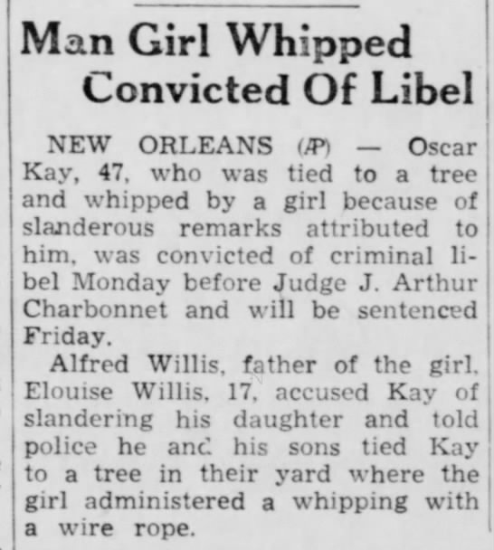 - Man Girl Whipped Convicted Of Libel NEW ORLEANS...