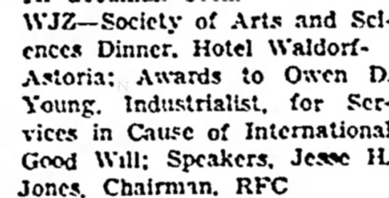 Times Herald (Olean, New York) 20 May 1936  Page 3 - WJZ--Society of Arts and Sciences Dinner. Hotel...