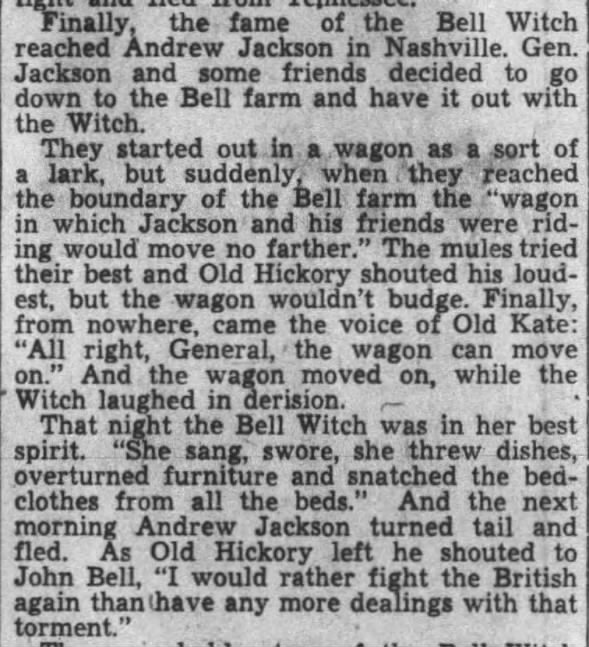 Andrew Jackson and the Bell Witch