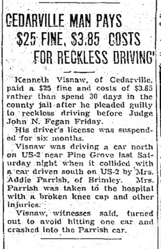 Kenneth Visnaw cedarville 1936