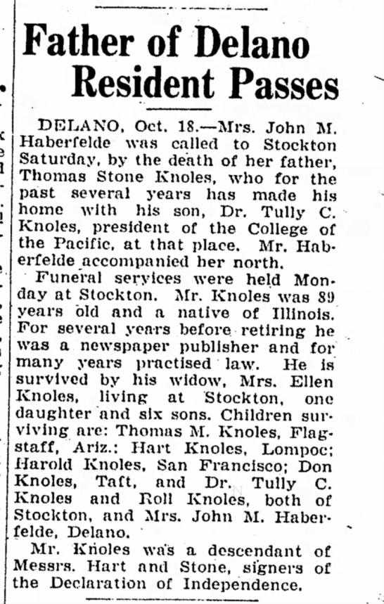Thomas Stone Knoles - Father of Delano Resident Passes DELANO, Oct....