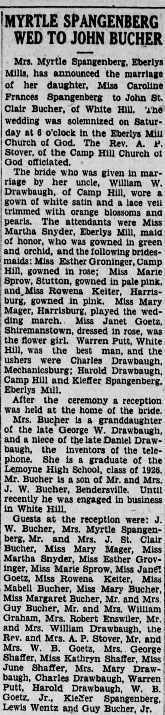 CarolineWedding2/20/28 - MYRTLE SPANGENBERG WED TO JOHN BUCHER Mrs....